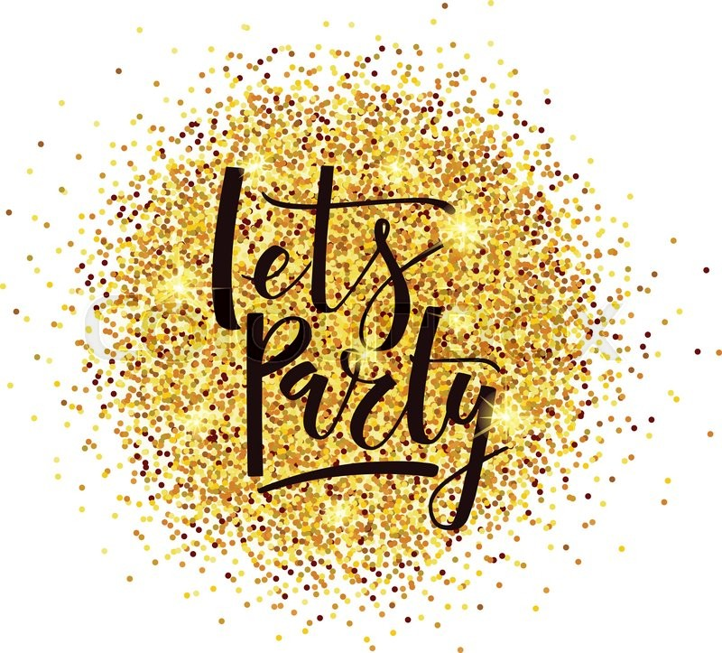 hand sketched golden glitter round background for party template