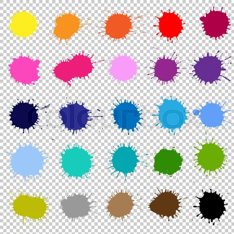 Color Splash Isolated On Transparent Background With Gradient Mesh