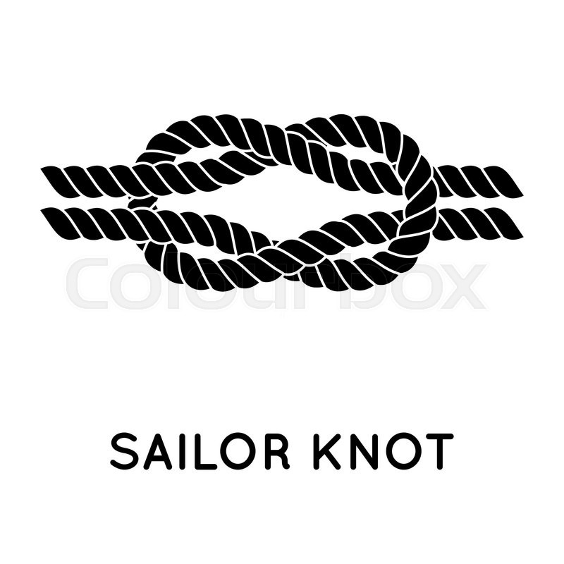 Sailor Knot Nautical Rope Infinity Sign Single Flat Icon With