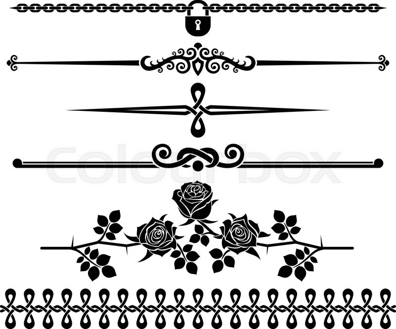 Graphic Design Elements Line : Decorative elements roses design