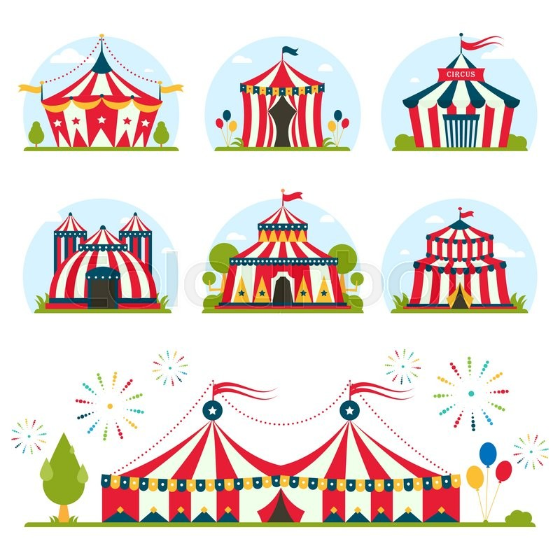 Cartoon circus tent with stripes and flags carnival entertainment amusement lelements flat vector. Circus tents entertainment amusement circus red tents.  sc 1 st  Colourbox & Cartoon circus tent with stripes and flags carnival entertainment ...