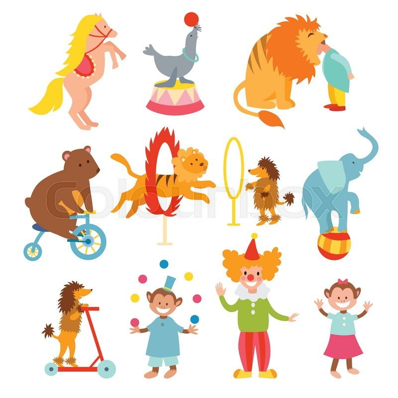 set of various circus elements  people  animals and Circus Lion Clip Art vintage circus elephant clipart