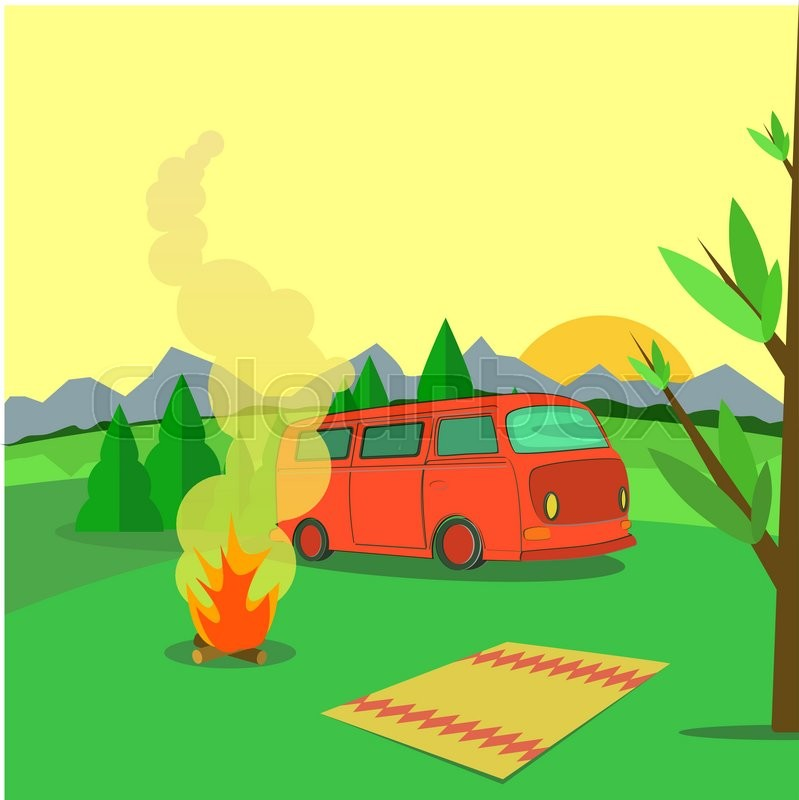 Hiking and outdoor recreation concept with flat camping travel. Vector, vector