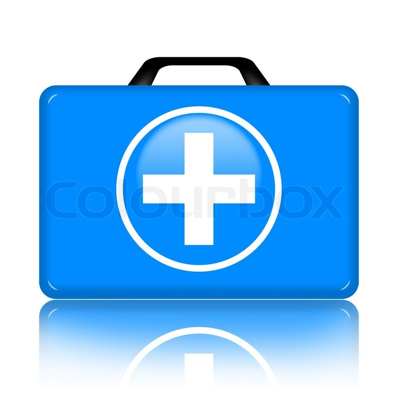 Stock image of blue first aid kit isolated on white