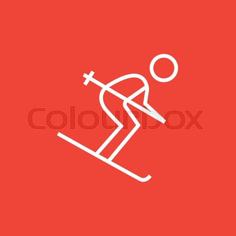d0258e38503a Downhill skiing thick line icon with ...
