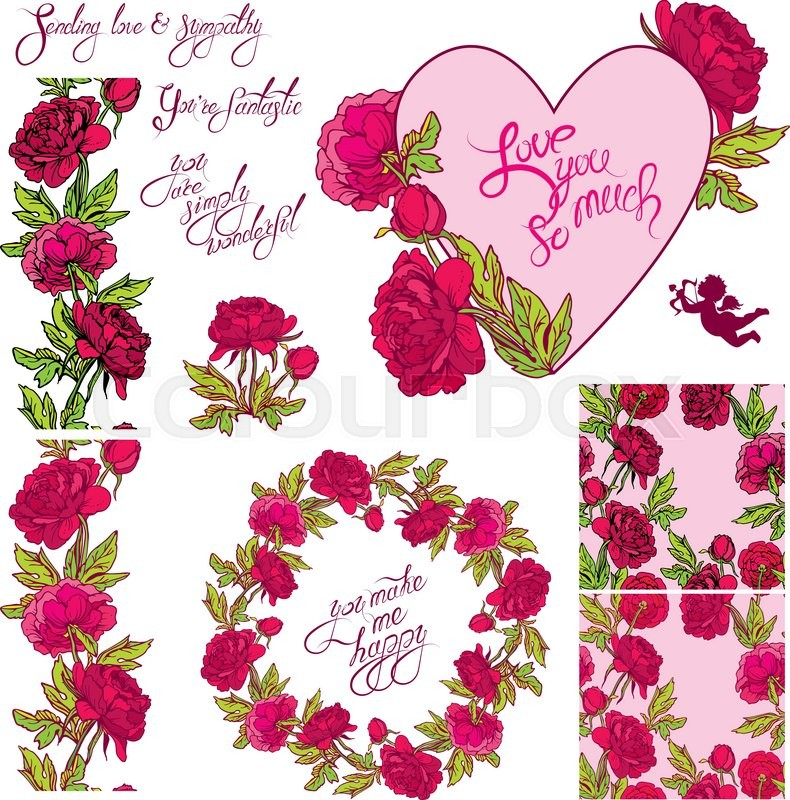 Decorative Handdrawn Floral Heart Border Frame And Seamless Pattern With Dahlia Flowers Calligraphic Texts Isolated On White Background
