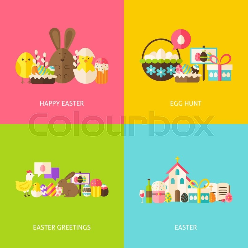 Happy easter greetings flat concepts set flat design vector happy easter greetings flat concepts set flat design vector illustration collection of spring christian holiday colorful objects m4hsunfo
