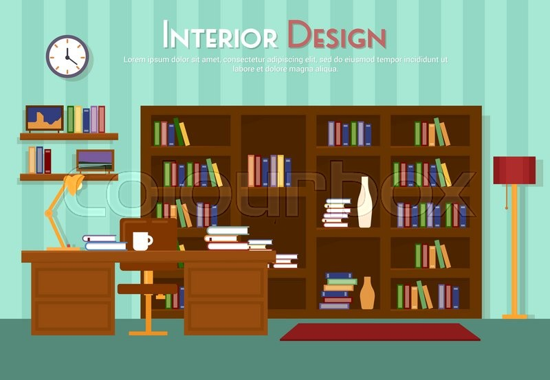 Vector Flat Illustration Of Room Lounge With Bookshelf Table Lamp Cup Armchair On The Floor Carpet Rug Books Clock In Indoor Cabinet