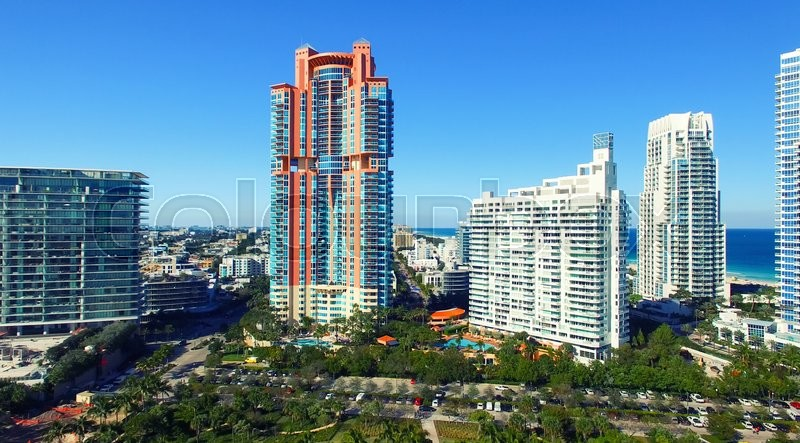 Miami Beach Aerial View From South Pointe Park Florida On A Sunny Day Stock Photo