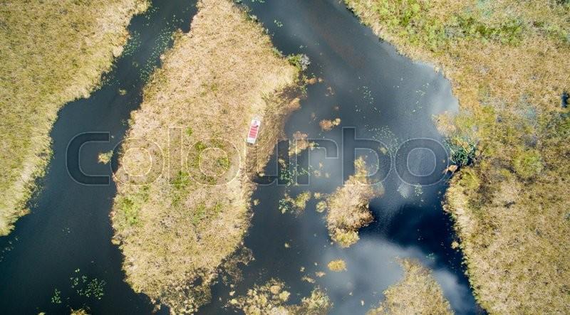 Overhead view of Everglades, Florida, stock photo