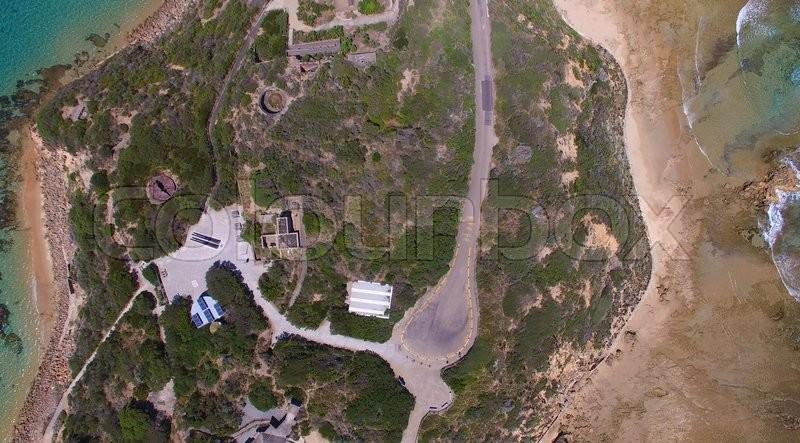 Overhead view of Fort Nepean, Mornington Peninsula, Australia, stock photo
