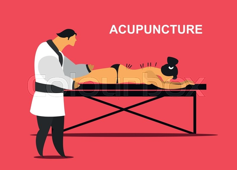 Vector illustration of a patient on the table for massage and acupuncture, vector