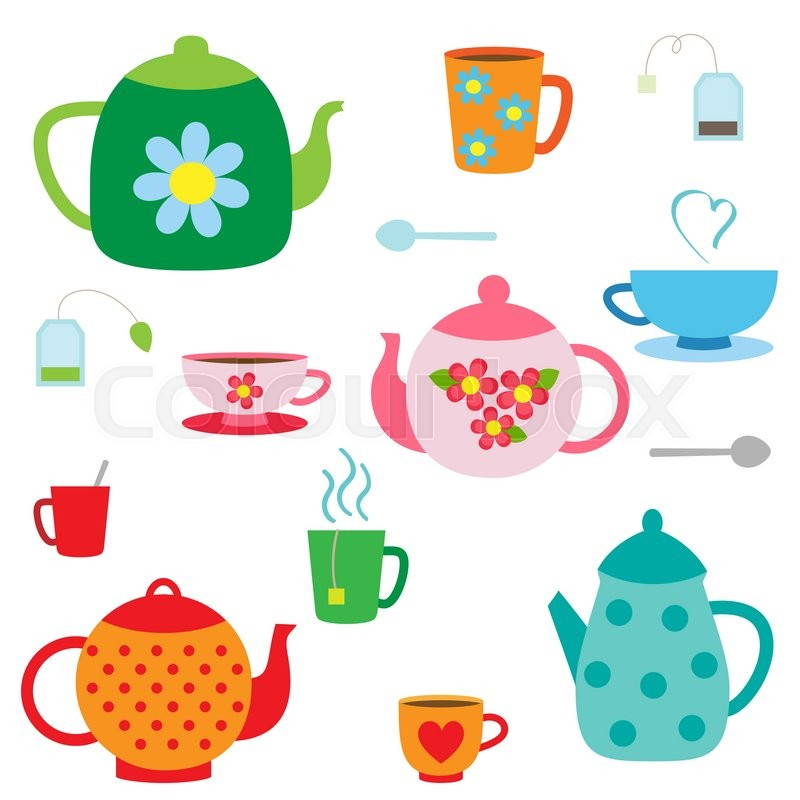 Vector set of tea pots and cups   Stock Vector   Colourbox