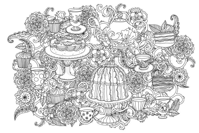 Time for tea, cups, teapot and cupcakes. for adult coloring book ...