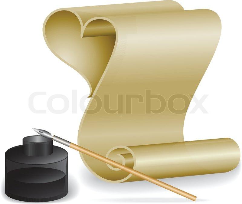 roll von altem papier und feder in das tintenfass vektorgrafik colourbox. Black Bedroom Furniture Sets. Home Design Ideas