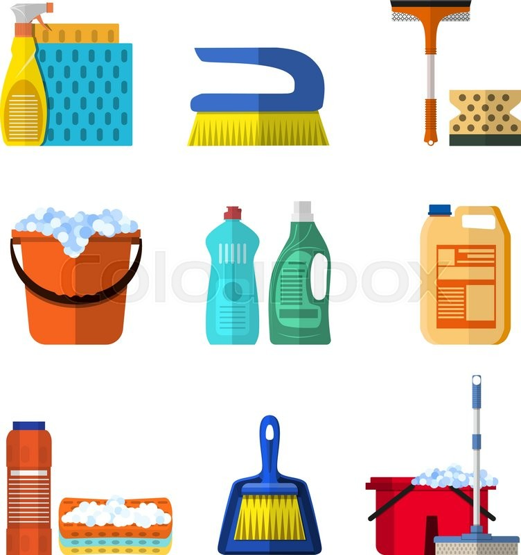 Cleaning Icons Set With Mop Soap And Gloves Red Plastic