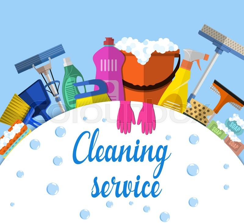 Cleaning Service Flat Illustration. ...