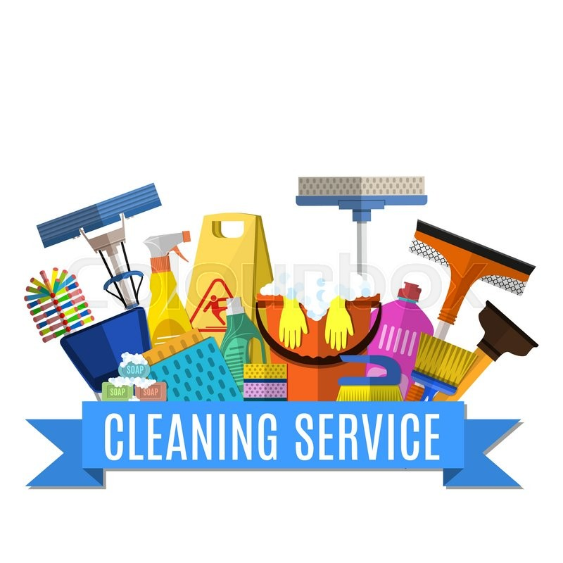 Cleaning Service Flat Illustration Poster Template For