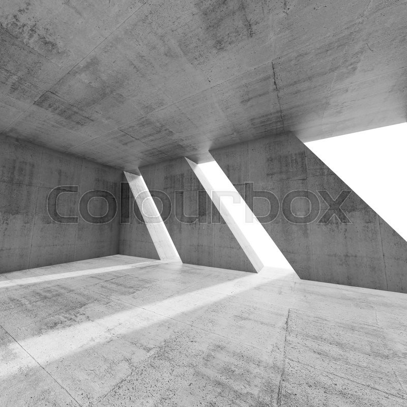 Modern Architecture Render abstract square empty concrete interior with windows. modern