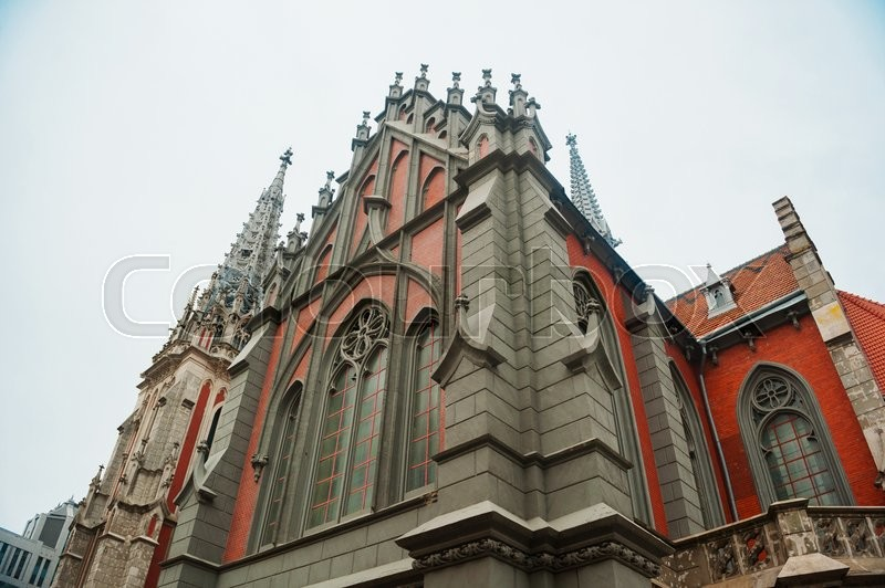 Catholic church in the Gothic style architecture, stock photo