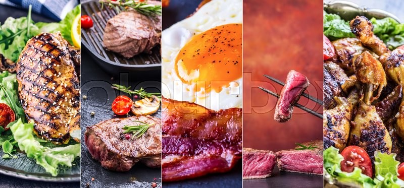 Grill Food. Grill meat - chicken, beef and bacon. Grill sirloin steak, chicken breast - chicken legs. Grill bacon and egg - english breakfast. Vegetable decoration. Collage of delicious grilled close-up. Advantageous banners 5 in 1, stock photo