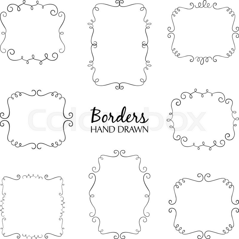Vector illustration of hand drawn borders set Collection of – Birthday Cards Borders