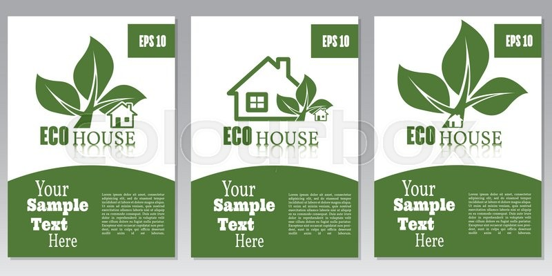 Set Of Flyers Or Cover Design Green House. Brochure Or Report For Business,  Template Vector. Ecology Concept, Vector