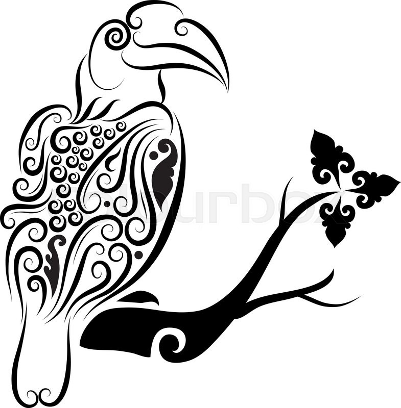 Guinness Toucan Mascot Tattoo: Toucan Bird With Floral Ornament Decoration. Good Use For