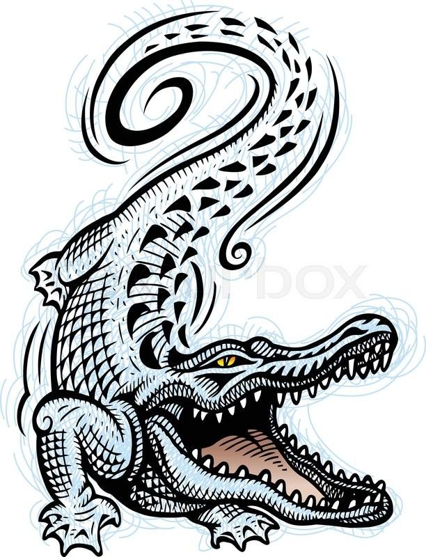 crocodile reptile wild animal ink sketch style good use