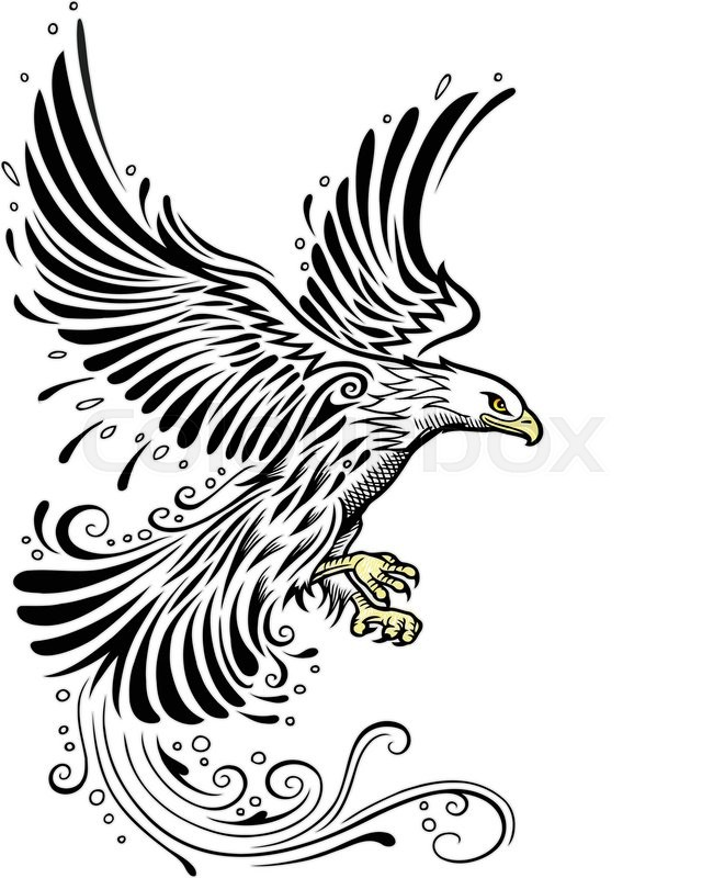 Eagle Flying With Black Ink Style Good Use For Symbol Logo Web