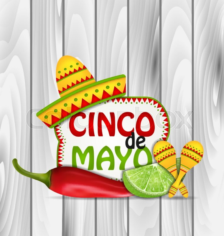 Illustration Holiday Greeting Background For Cinco De Mayo With Chili Pepper Sombrero Hat Maracas Piece Of Lime