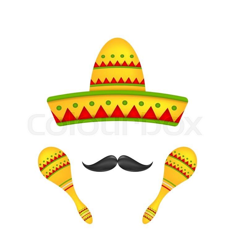 Illustration Mexican Symbols Sombrero Hat Musical Maracas