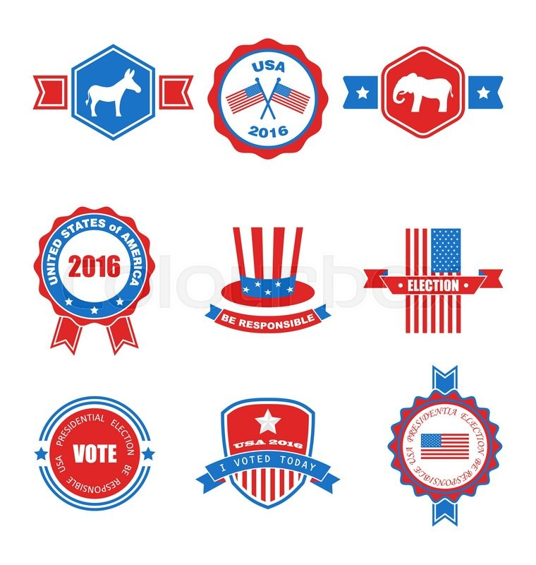 Set Of Various Voting Graphics Objects And Labels Emblems Symbols