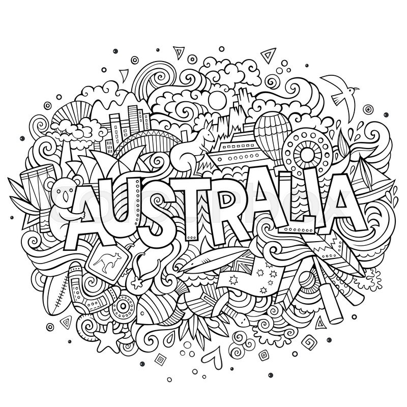 Australia Country Hand Lettering And Doodles Elements And Symbols