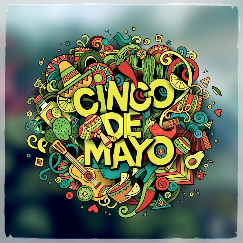 Cinco De Mayo Cartoon Vector Hand Drawn Doodle Illustration Detailed Design With Objects And Symbols All Are Separated Blurred Background