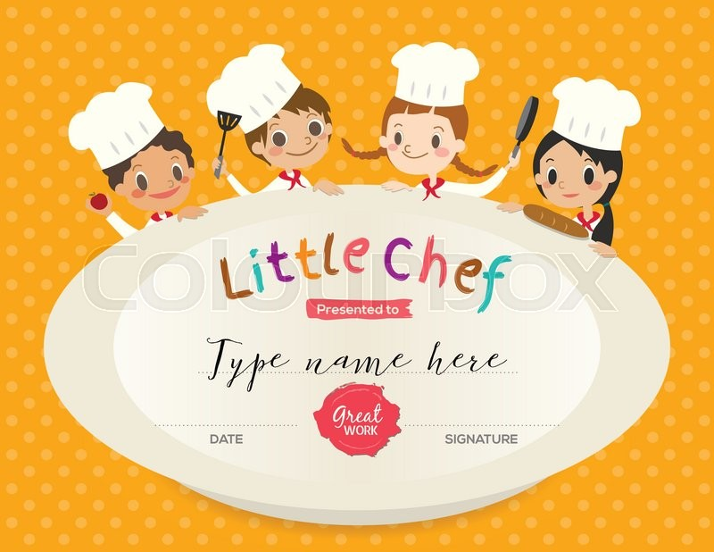 Cooking Certificate Template Custom Kids Cooking Class Certificate Design Template With Little Chef .