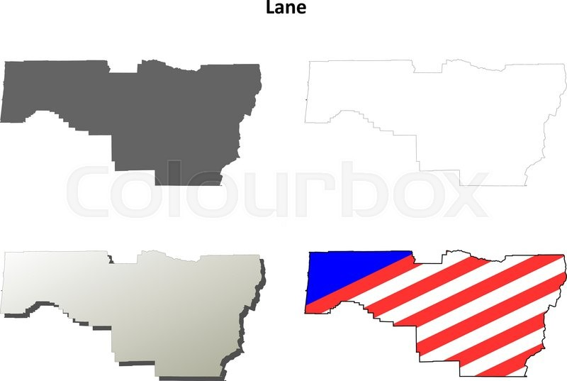 Lane County Oregon blank outline map set Stock Vector Colourbox