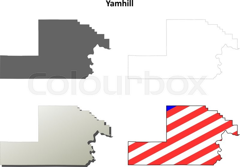 Yamhill County Oregon blank outline map set Stock Vector