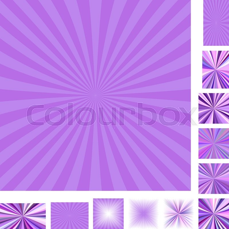 purple vector ray burst design background set different color