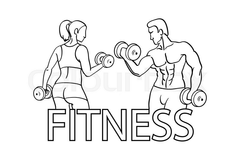 Man and woman of fitness silhouette character vector design template ...