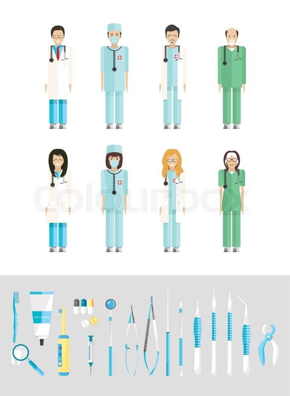 Stock Vector Illustration Set Of Dental Office With Medical Staff Equipment In Flat Style Element For Infographic Website Icon Games