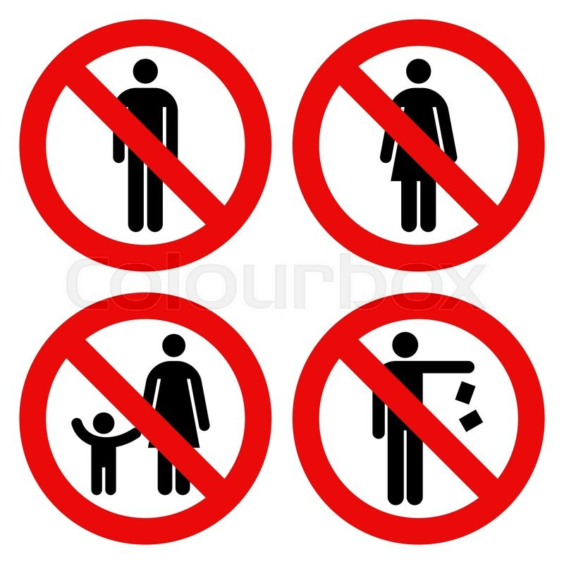 No Man Sign No Woman Sign Parent And Child Sign No Littering Sign