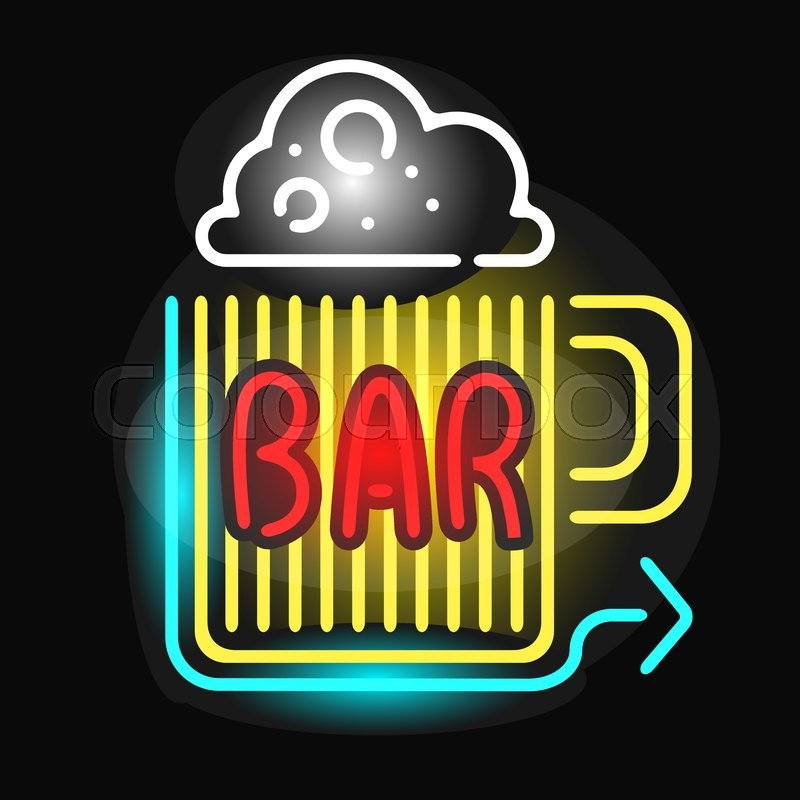 Retro neon sign beer bar and vintage electric arrow beer