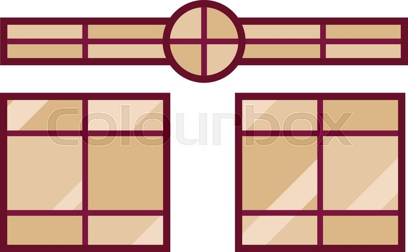 Different types house windows vector elements isolated on white ...