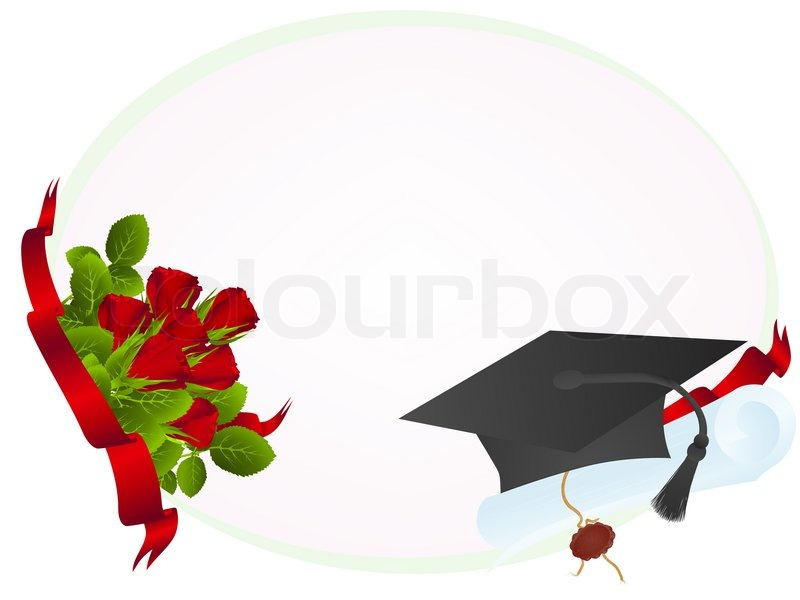 Education theme: frame with roses, graduate hat and diploma ...