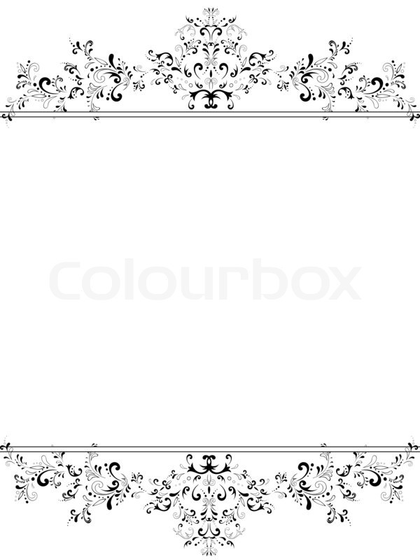 vintage black frame. Illustration Of Vertical Vintage Floral Frame In Black And White With  Copyspace For Your Text | Stock Photo Colourbox I