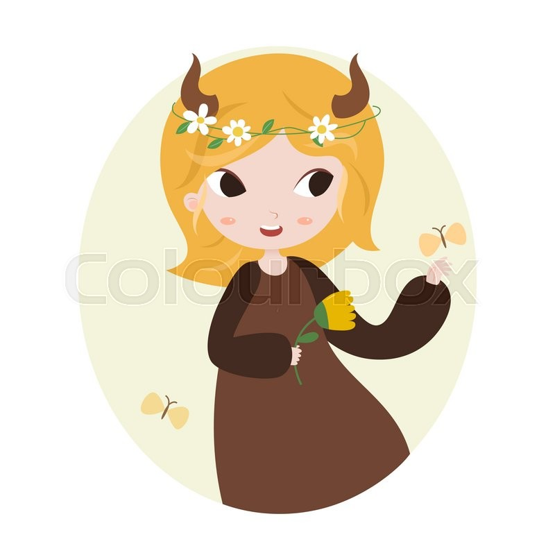 Cute Horoscope. Zodiac Signs. Taurus. Series Of Cartoon Zodiac