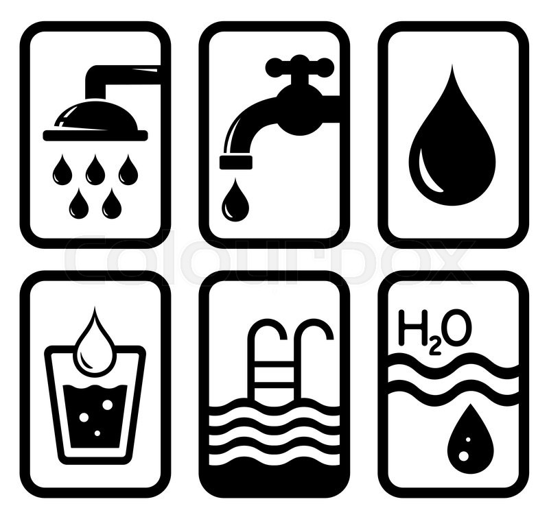 Set Of Isolated Black Water Concept Symbols Stock Vector Colourbox