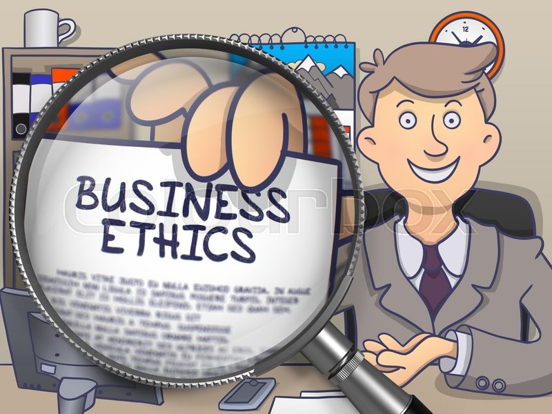 business ethics paper with text in businessmanamps hand through  business ethics paper  text in businessmans hand through magnifier colored modern line illustration in doodle style stock photo
