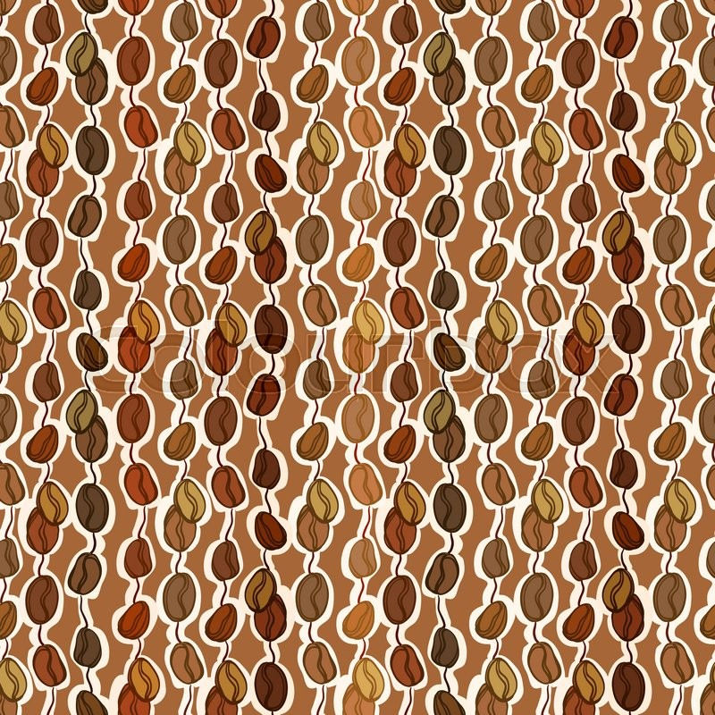 Brown seamless pattern coffee seeds texture background. Black ...